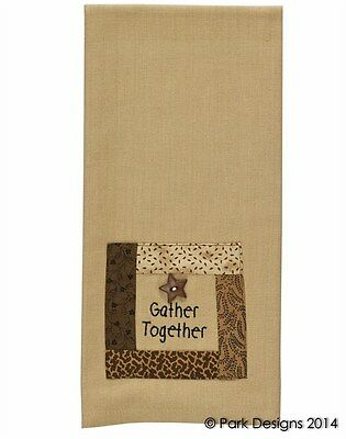 """(1) Primitive Gather Together Tan Cotton Country Kitchen Dish Towel 19""""x28"""""""
