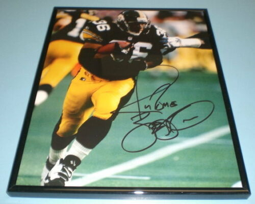 STEELERS JEROME BETTIS 11x14 FRAMED SIGNED IN ACTION PRINT