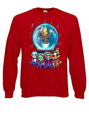 Guardians Of The Galaxy Christmas Groot In Snowball Jumper Sweater Pullover XM45