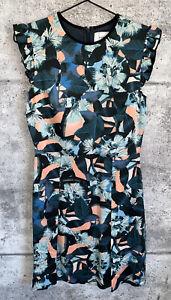 Erdem-100-Silk-A-Line-Dress-Floral-Ruffle-Pleated-Rainie-Size-6-M-RARE-NEW