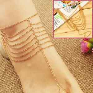 tobillera-cadena-eslabones-oro-Colorido-Fus-Collar-pie-cadena-de-pie-sexy-cadena