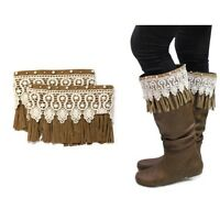 Neutral Leather Fringe And Lace Boot Toppers