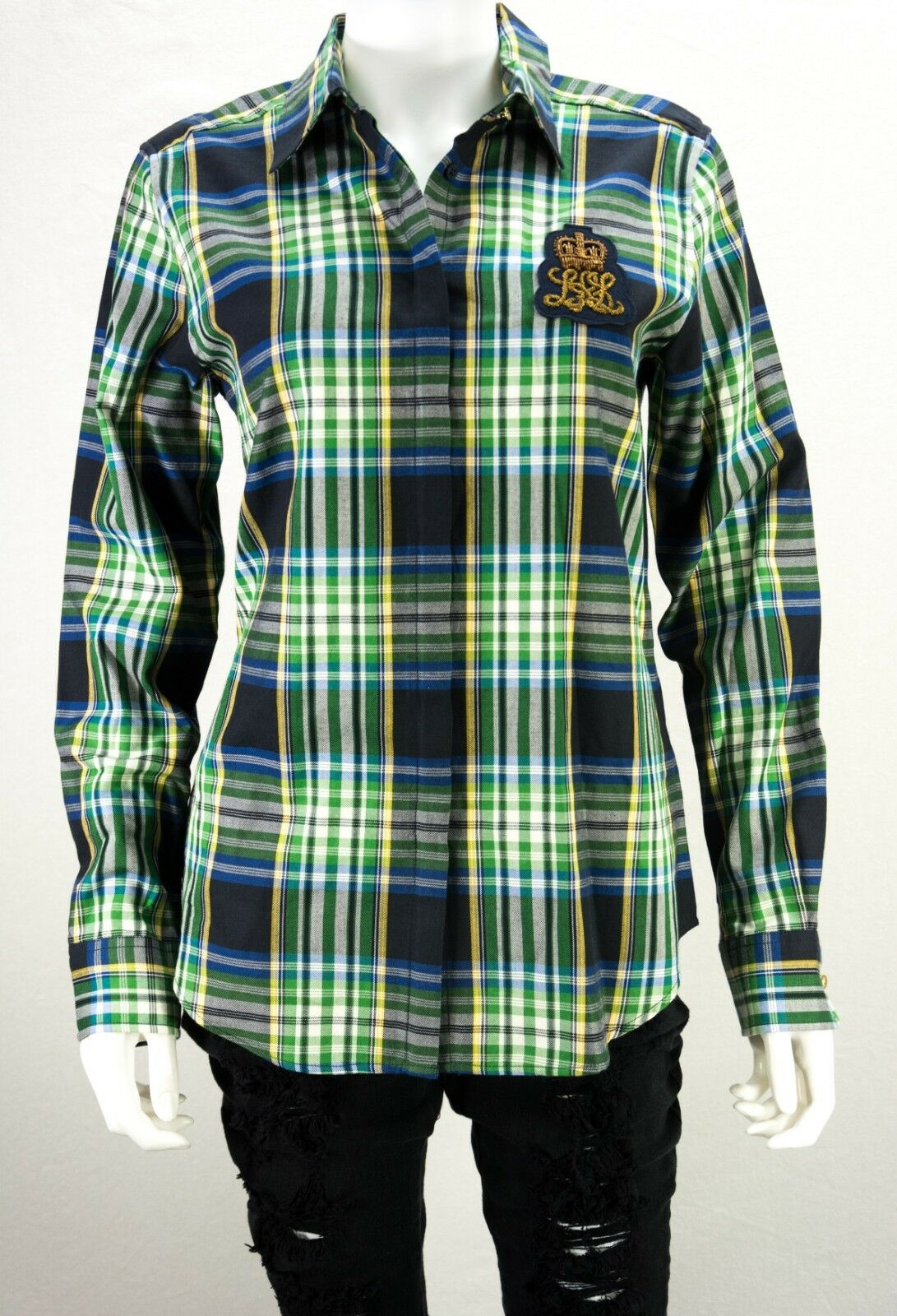 Woherren Ralph Lauren Größe MEDIUM M Plaid Embroiderot Patch Long Sleeve Shirt NWT
