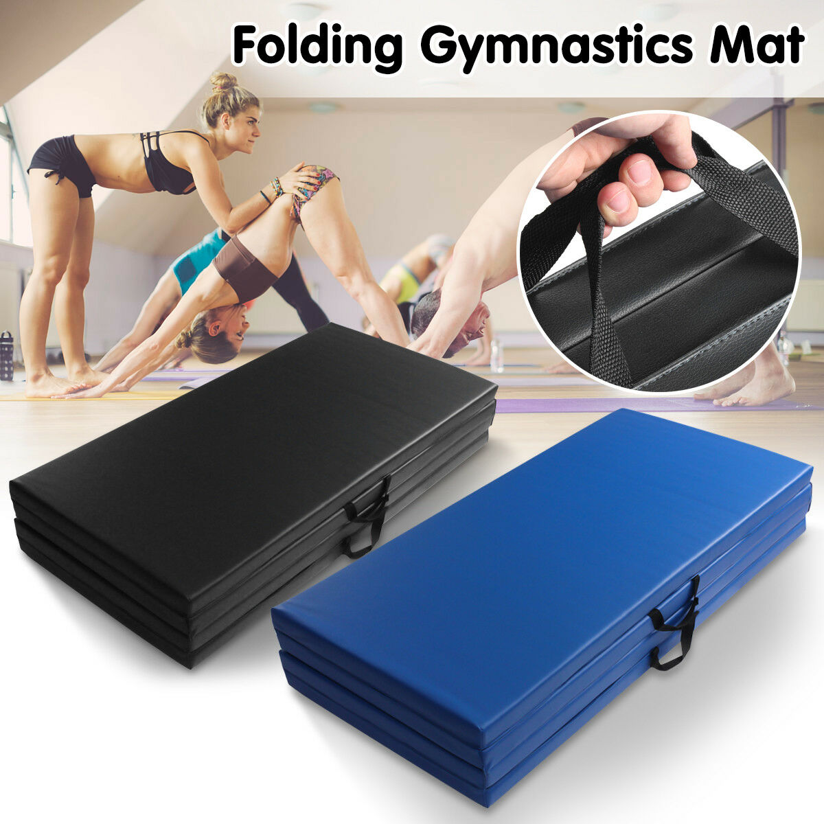 8FT Four Large Folding Gymnastics Yoga Floor Mats Gym Crash Tumble Landing