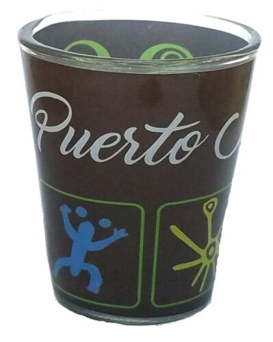 2OZ Lot of 2 Shot Glass With Puerto Rico Cemi Crystal SOUVENIRS Rican Boricua