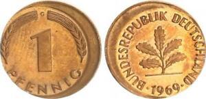 Frg 1 Pfennig 1969 G Lack Coinage: 10% Dezentriert Prfr Saint (8) Beautiful