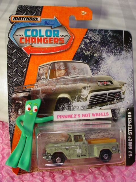 Military '57 GMC STEPSIDE truck☆green; empty bed☆2017 MATCHBOX COLOR CHANGERS
