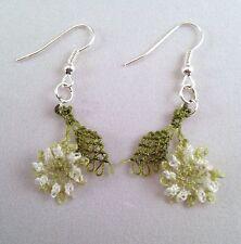 Ago fatto a mano pizzo uncinetto Dangle Earrings VERDE CHIARO fiori WT foglie verdi