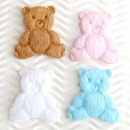 "60 pc x 1.25/"" Padded Furry Felt Teddy Polar Bears Appliques Baby Shower ST208M"