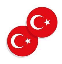 Turkey Flag Stickers Flag Decals Round Indoor Outdoor Circles Turkey 4 Pack