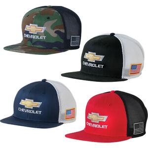 Details about Chevrolet Gold Bowtie American Flag Retro Trucker Flat Bill  Base Ball Cap Hat