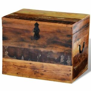 Solid Wood Reclaimed Storage Box Chest Organizer Trunk Indoor Stand