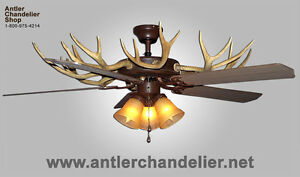 Real antler whitetailmule deer ceiling fan 3 lights acs lamps image is loading real antler whitetail mule deer ceiling fan 3 mozeypictures Choice Image