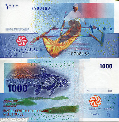 COMOROS 1000 Francs Banknote World Money UNC Currency BILL p16 Africa Note Fish