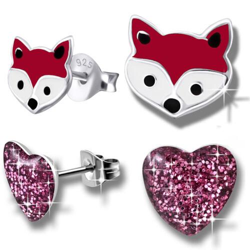 2x Ohrringe für Kinder Mädchen Ohrstecker Damen 925 echt Silber Sterling Fuchs
