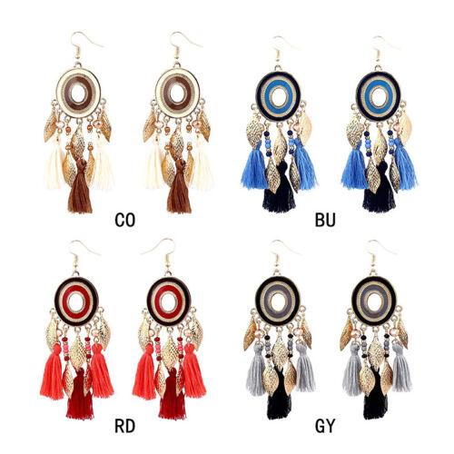 Women Long Cotton Earrings Gold Leaves Fringe Earrings Ear Dangle Tassle Jewelry