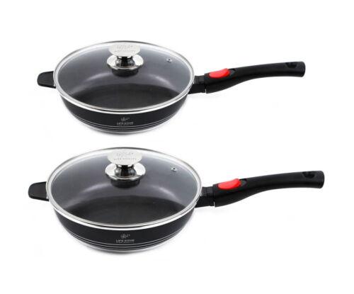 Non Stick Frying Pan Deep Fry Pan Aluminium With Lid Ceramic Saute Cooking