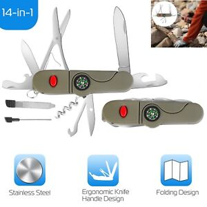 Confident 13 In 1 Multifunction Outdoor Camping Survival Edc Pockets Tool With Led Light Compass Swiss Folding Knife Stainless Steel Army Hand Tools