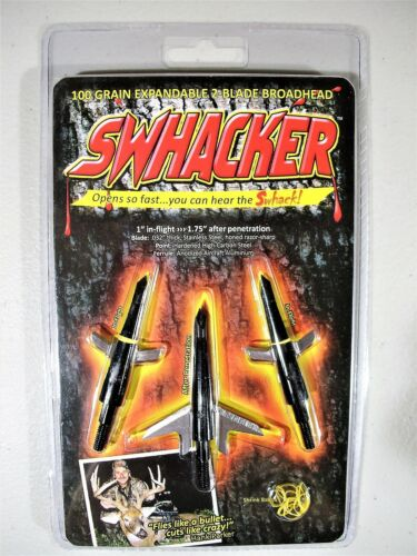 """Swhacker 100 Grain Expandable Bow Hunting 2 Blade Broad Heads 1.75 /"""" Cut 3 pack"""