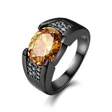 Men's Size 10 Black Sapphire 18K Black Gold Filled Engagement Ring Gift