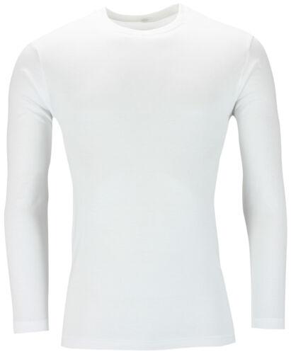 Nouvelle chemise à manches longues t shirt muscle top 100/% coton tee plain à encolure ras-du-cou casual