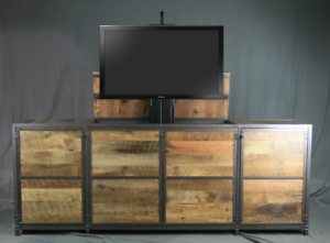 Image Is Loading Reclaimed Wood Tv Lift Cabinet Media Console