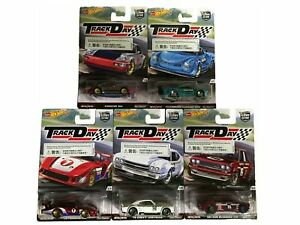 Hot-Wheels-Track-Day-Car-Culture-1-64-Set-5-Vehicules-real-riders-Nouveau-neuf-dans-sa-boite