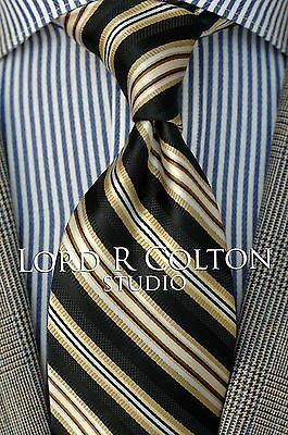 Lord R Colton Studio Tie - Black & Gold Stripe Woven Necktie - $95 Retail