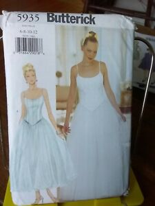 Oop-Butterick-5935-misses-formal-fitted-top-tulle-skirt-sz-6-12-NEW
