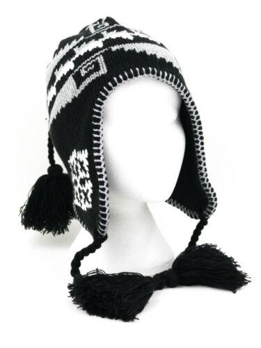 Damen Fleece Gefüttert Gestrickt Peruvian Wintermütze mit quasten Schwarz Braun