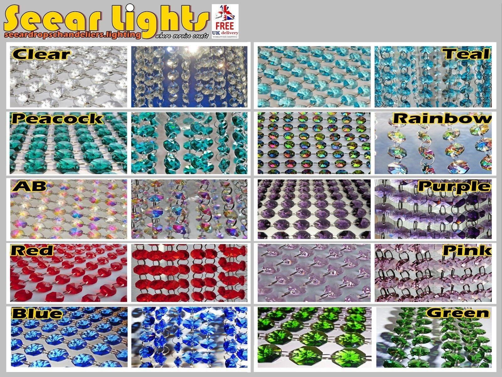 Araña de luces Cuentas Cristales 2 M octagons Swag gotitas de Árbol Decoración de Navidad