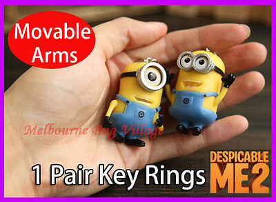 Pair Despicable Me 2 Minions Figure With Movable Arms Car Key ring Chain Keyring