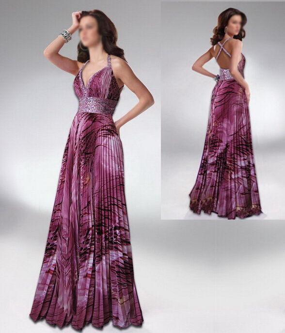 APPLAUSE-WINNING PURPLE & PINK PRINTS BEADED FORMAL EVENING PROM BRIDESMAID GOWN