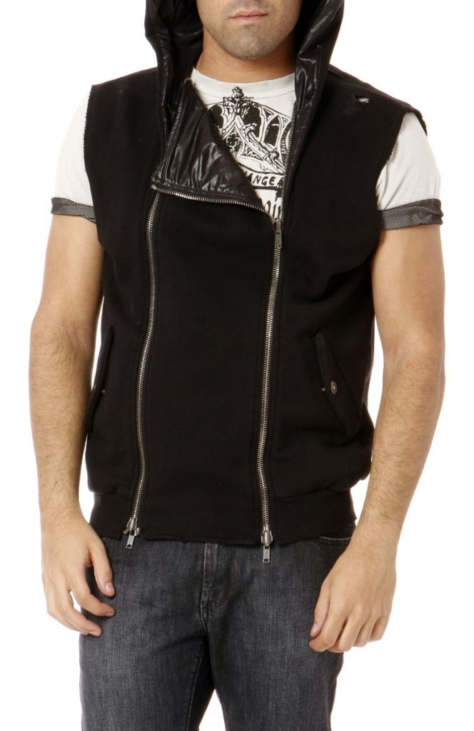 New PIERRE BALMAIN sweater schwarz felpa vest biker style 5M2758 ITALIA MEDIUM