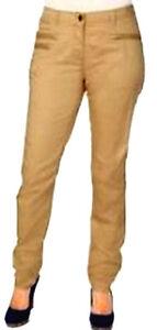 Donna Beige Sabbia Unita Tessuto Pantaloni Nuovo Elasticizzato Tinta Crema Chino 7dzTWxn