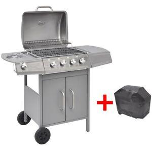 vidaxl edelstahl gasgrill bbq grillwagen gartengrill 4 1 brenner seitenkocher ebay. Black Bedroom Furniture Sets. Home Design Ideas