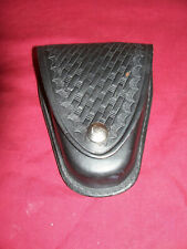 Galls Gear Black Leather Basketweave Handcuff Case Pouch Holder Police Cop Belt