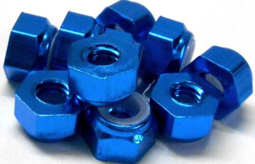NM410B M4 4mm Nylon Alloy Aluminium Lock Nuts x 10 Wheel Axle 1//10 Blue