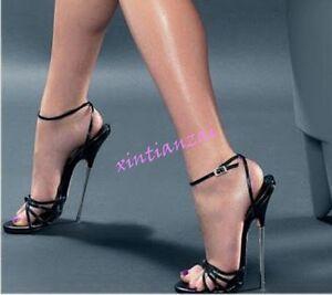 376f3ee8901 Womens Men Open Toe 18CM Metal High Heel Shoes Ankle Strap Sandals ...