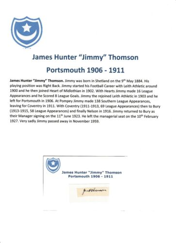 JIMMY THOMSON PORTSMOUTH 19061911 EXTREMELY RARE ORIGINAL HAND SIGNED CUTTING