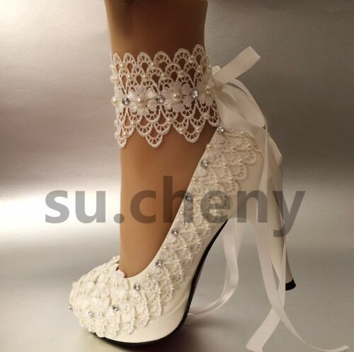 """su.cheny 3/""""4 /"""" heel white ivory lace ribbon pearls Wedding shoes bride size 5-11"""