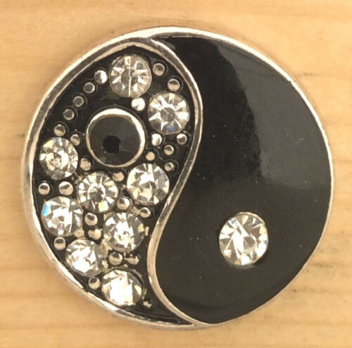 ! Snap Chunk Button Black Silver Ying Yang Charm For Ginger Snap Style Jewelry