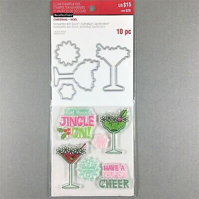 Recollections Christmas Clear Stamp Die Set Drinks Have A Cup Of Cheer Phrase
