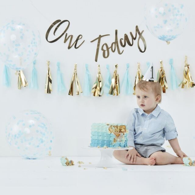 1st Birthday Boys Cake Smash Kit With Balloons Backdrop Party Hat Tassel Garland