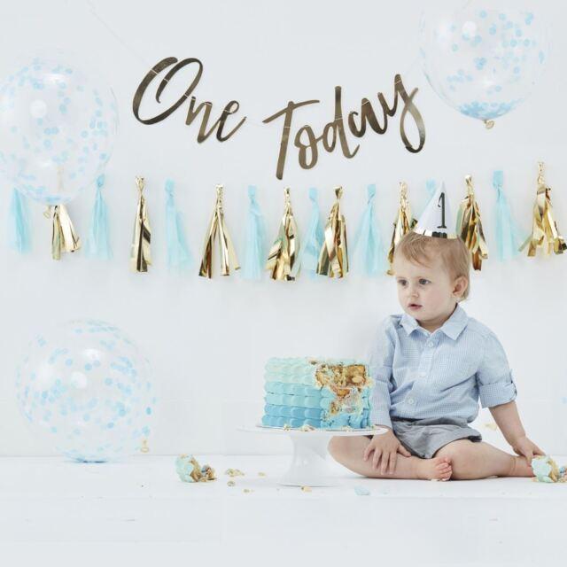 Blue 1st Birthday Party Cake Smash Decorating Kit