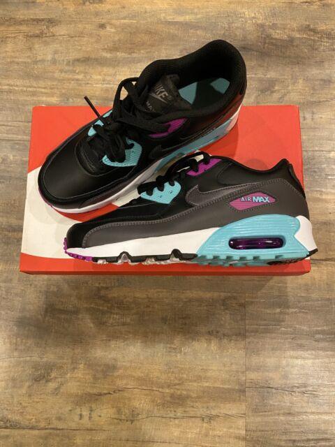 Nike Air Max 90 LTR GS Black Blue Purple 833412 003 Size 4Y, 5.5Y Girls NEW