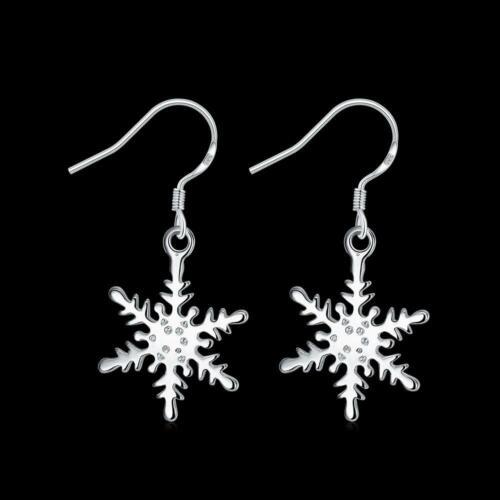 Cadeau de Noël argent sterling 925 lisse Flocon De Neige Femmes Fashion Boucles d/'oreilles pendantes E302