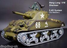 Radio Remote Control RC Tank Heng Long  Sherman M4A3 Platinum 2.4G 1/16 UK