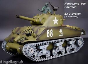 38fb816be877 Radio Remote Control RC Tank Heng Long Sherman M4A3 Platinum 2.4G 1 ...