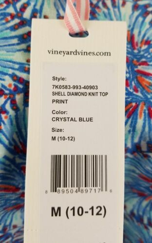 Sizes XS S M Girl/'s Shell Diamond Knit Top VINEYARD VINES Crystal Blue